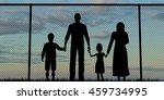 silhouette of a refugees family ... | Shutterstock . vector #459734995