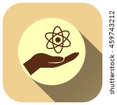 atom and hand icon  vector logo ...