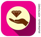 diamond with hand icon  vector...