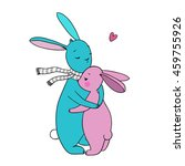 Two Cute Cartoon Rabbit. Hand...