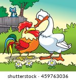 Goose  Rooster And Cat On The...