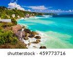 azure beach with rocky... | Shutterstock . vector #459773716
