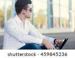 businessman outside building... | Shutterstock . vector #459845236