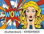 woman says wow  wow woman.... | Shutterstock .eps vector #459849805
