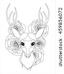 graceful deer coloring page for ... | Shutterstock .eps vector #459856072