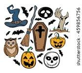 doodle halloween set with... | Shutterstock .eps vector #459856756
