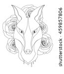 graceful fox coloring page for... | Shutterstock .eps vector #459857806