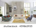modern living room luxury sofa... | Shutterstock . vector #459863935
