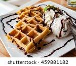 Waffles With Vanilla Ice Creams