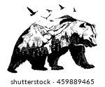 vector double exposure  bear... | Shutterstock .eps vector #459889465