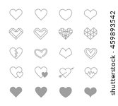 heart icons line set of vector... | Shutterstock .eps vector #459893542