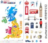 united kingdom regions map with ... | Shutterstock .eps vector #459899152