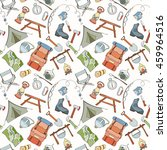 seamless pattern of camping... | Shutterstock .eps vector #459964516