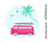 pink car with surfing board and ... | Shutterstock .eps vector #459981016
