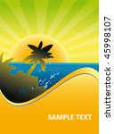 tropical island sunset... | Shutterstock .eps vector #45998107