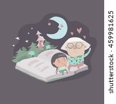 grandmother tells a fairytales... | Shutterstock .eps vector #459981625