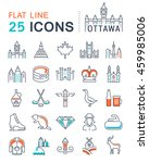 set vector line icons in flat... | Shutterstock .eps vector #459985006