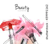 makeup brush with smear ... | Shutterstock . vector #459991162