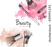 makeup brush with smear ... | Shutterstock . vector #459991192
