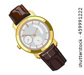golden wristwatch isolated on a ... | Shutterstock .eps vector #459991222