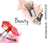 makeup brush with smear ... | Shutterstock . vector #459991225