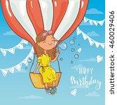 girl with birthday  air balloon ... | Shutterstock .eps vector #460029406