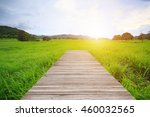 wood bridge walk in field at... | Shutterstock . vector #460032565