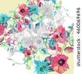 beautiful  watercolor bouquet... | Shutterstock . vector #460069696
