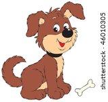 dog with bone | Shutterstock .eps vector #46010305