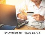 business man's hands holding a... | Shutterstock . vector #460118716