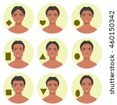 set of different face shapes.... | Shutterstock .eps vector #460150342