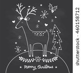 cute reindeer with doodle on... | Shutterstock .eps vector #460158712