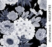 black and white floral... | Shutterstock . vector #460169785