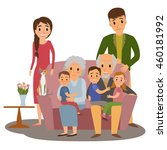 big family. happy family whith... | Shutterstock .eps vector #460181992