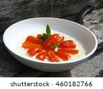 peppers and white pan