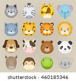 Set Of Cartoon Cute Animal...