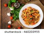 vegetarian vegetable pasta... | Shutterstock . vector #460203955