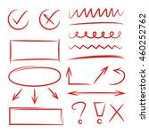 red hand drawn underlines ... | Shutterstock .eps vector #460252762