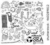 doodle marin set. hand graphics.... | Shutterstock .eps vector #460289812