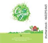 words go vegan in simple and... | Shutterstock .eps vector #460291465