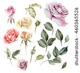 watercolor set with different... | Shutterstock . vector #460365526