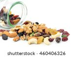mixed nuts and dried fruits... | Shutterstock . vector #460406326