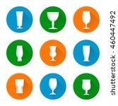 flat beer glass icons set... | Shutterstock .eps vector #460447492