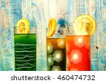 fresh healthy fruit juices on a ... | Shutterstock . vector #460474732