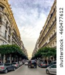 Small photo of ALGIERS, ALGERIA - FEB 6, 2016:French colonial buildings in Algiers Algeria.Buildings are being renowated by Algerian government.The street is connect to Abdelkader El Djezairi monument to post office