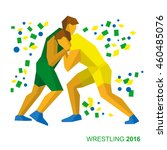 wrestling in the colors of... | Shutterstock .eps vector #460485076