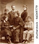 Vintage family photo (circa 1910) - stock photo