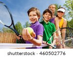 family playing tennis holding... | Shutterstock . vector #460502776