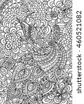 coloring page. peacock and...   Shutterstock .eps vector #460521082