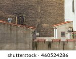 brick wall without windows with ... | Shutterstock . vector #460524286